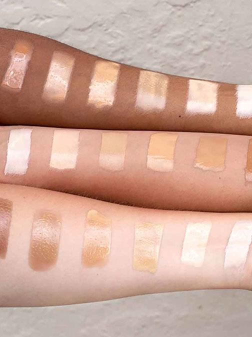 Foundation swatches on arm