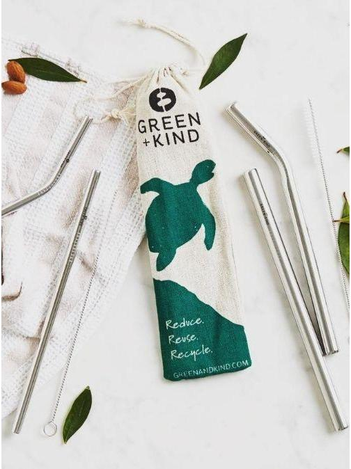 Green + Kind Stainless Steel Reusable Straws