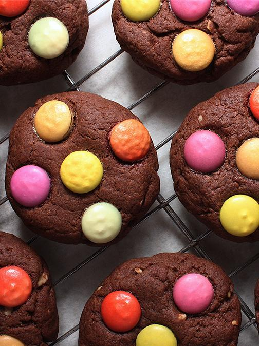 Vegan Double Chocolate Smarties Cookies