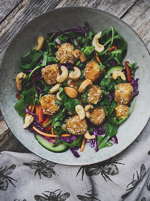 Vegan Vietnamese Rainbow Salad With Sesame Crusted Tofu