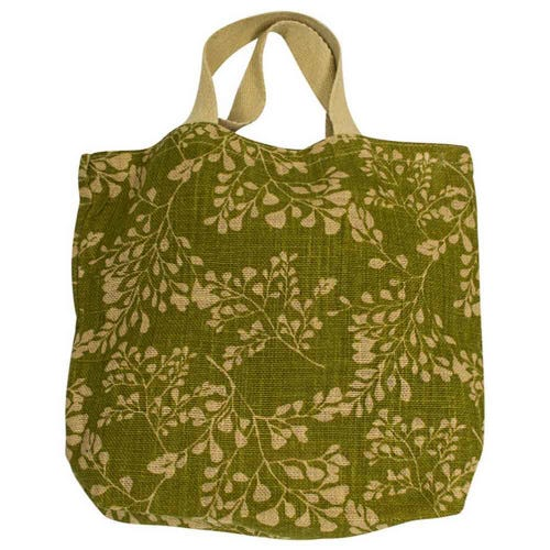 Apple Green Duck Jute Grocer Bag - Fern Olive