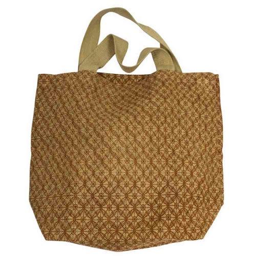 Apple Green Duck Jute Grocer Bag - Lattice Bronze