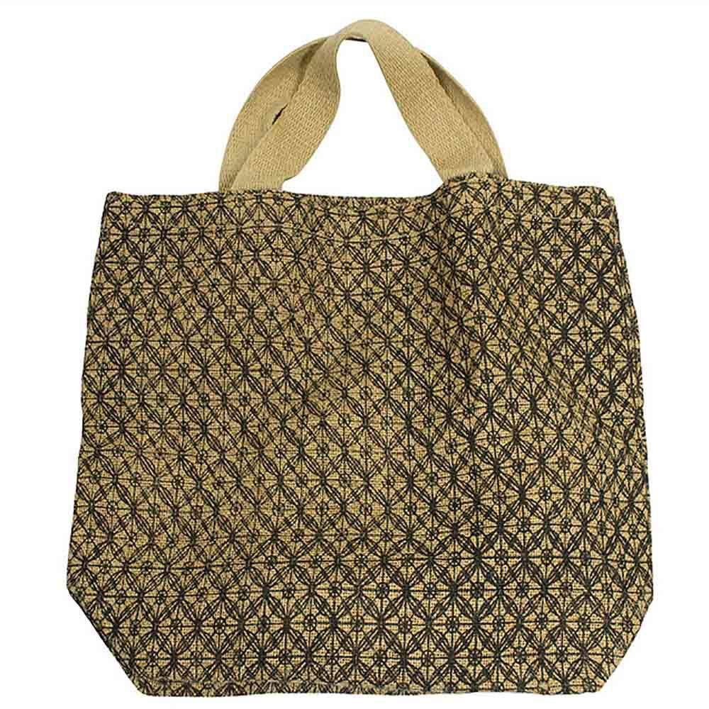 Apple Green Duck Jute Grocer Bag - Lattice Charcoal