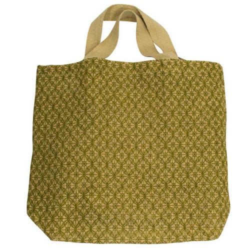 Apple Green Duck Jute Grocer Bag - Lattice Olive