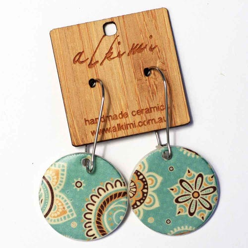 Alkimi Circle Dangle Earrings - 70's Retro