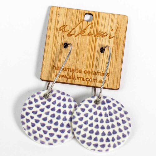 Alkimi Circle Dangle Earrings - Blue Dot