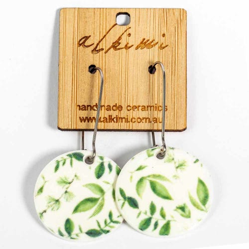 Alkimi Circle Dangle Earrings - Botanical