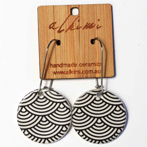 Alkimi Circle Dangle Earrings - Japanese Black Wave