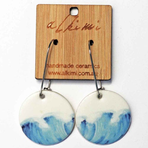 Alkimi Circle Dangle Earrings - Ocean Waves