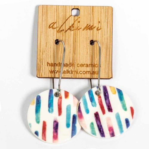 Alkimi Circle Dangle Earrings - Rainbow Stripe
