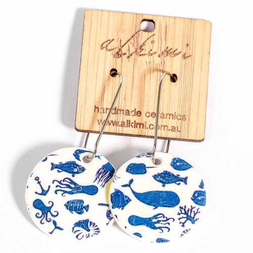 Alkimi Circle Dangle Earrings - Sea Creatures