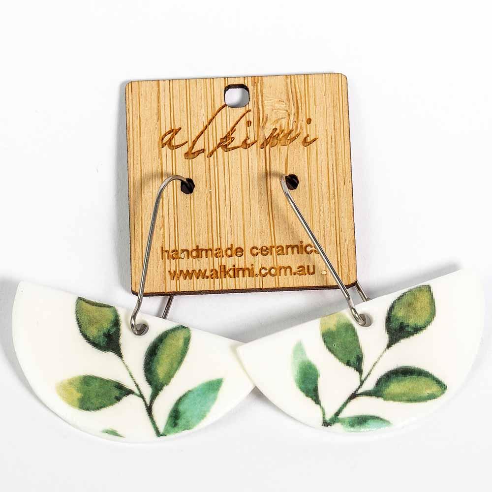 Alkimi Semi Circle Dangle Earrings - Leaf