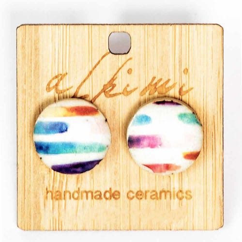 Alkimi Stud Earrings - Rainbow Stripe