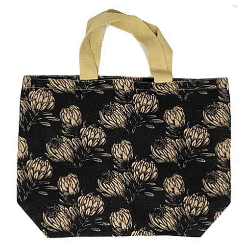 Apple Green Duck Jute Grocer Bag - Field Protea Charcoal