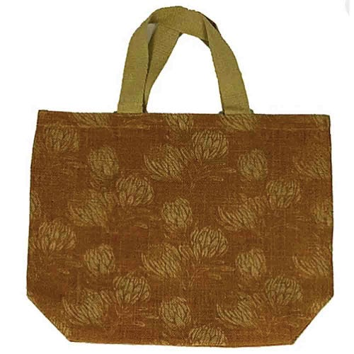 Apple Green Duck Jute Grocer Bag - Field Protea Ochre