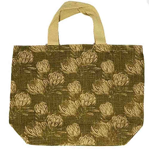 Apple Green Duck Jute Grocer Bag - Field Protea Olive