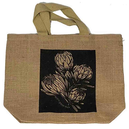 Apple Green Duck Jute Grocer Bag - King Protea Charcoal