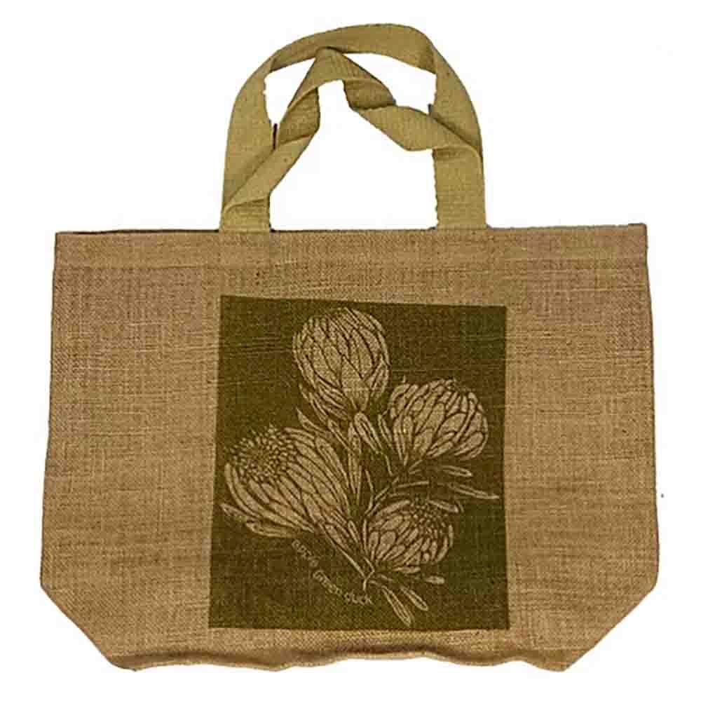 Apple Green Duck Jute Grocer Bag - King Protea Olive