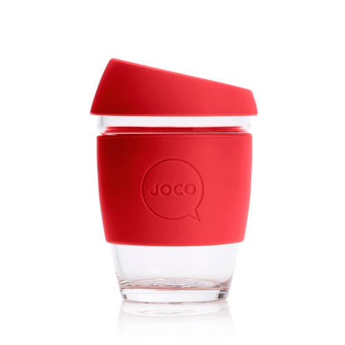 JOCO Reusable Glass Cup Red (12oz)
