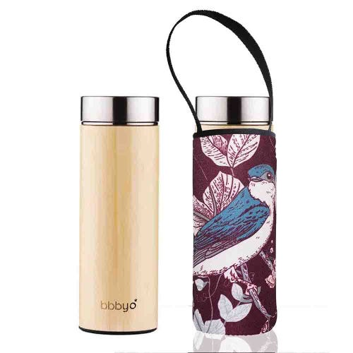 BBBYO Bamboo Thermal Tea Flask + Cover Bluebird (500ml)
