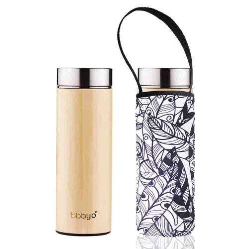 BBBYO Bamboo Thermal Tea Flask + Cover Feather (500ml)