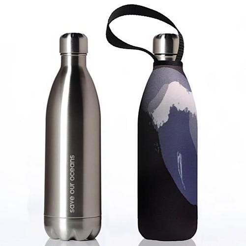 BBBYO Stainless Steel 1 litre Bottle + Cover - Black Wave