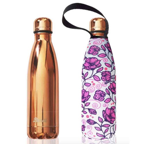 BBBYO Stainless Steel 500ml Bottle + Cover - Pink Rose