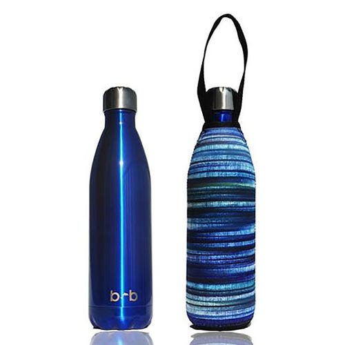 BBBYO Stainless Steel 1 litre Bottle + Carry Cover - Blue & Electric