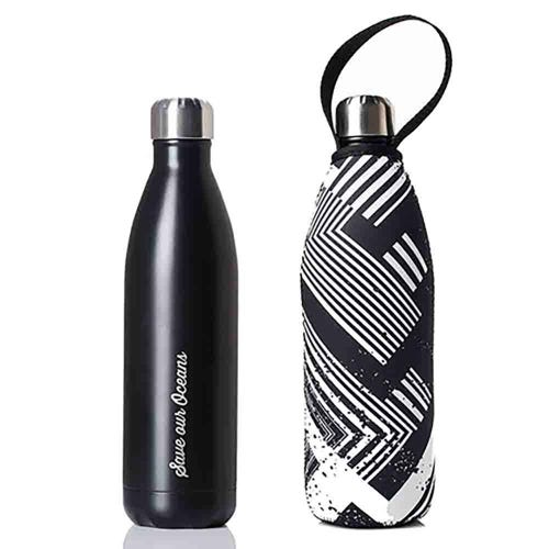 BBBYO Stainless Steel 750ml Bottle + Carry Cover - Black + Circuit