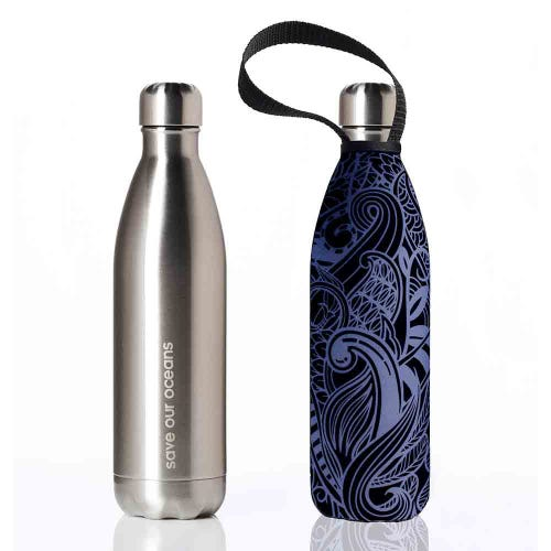 BBBYO Stainless Steel 750ml Bottle + Carry Cover - Silver & Night Koru