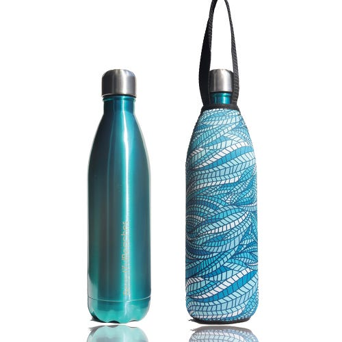 BBBYO Stainless Steel 750ml Bottle + Carry Cover - Aqua + Sealeaf