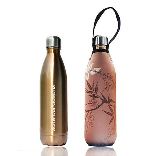 BBBYO Stainless Steel 750ml Bottle + Carry Cover - Gold & Bamboo