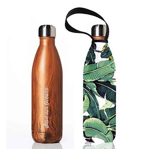 BBBYO Stainless Steel 750ml Bottle + Carry Cover - Woodgrain + Banana Leaf