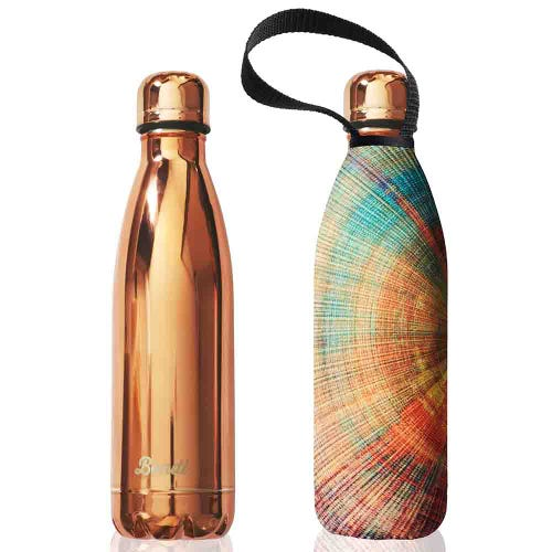 BBBYO Stainless Steel 750ml Bottle + Carry Cover - Rose Gold & Spiral
