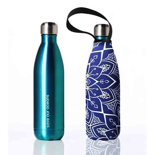 BBBYO Stainless Steel 750ml Bottle + Carry Cover - Aqua & Tokyo