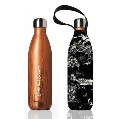 BBBYO Stainless Steel 750ml Bottle + Carry Cover - Woodgrain & Topo
