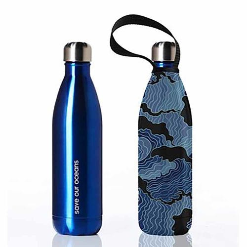 BBBYO Stainless Steel 750ml Bottle + Carry Cover - Blue & Tsumi