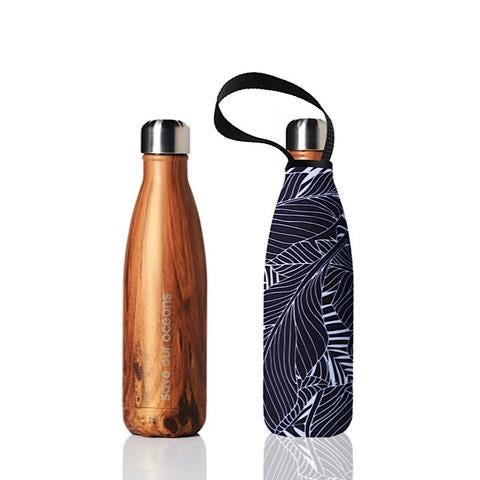 BBBYO Stainless Steel 500ml Bottle + Carry Cover - Black Leaf