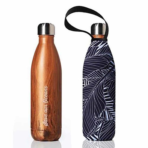 BBBYO Stainless Steel 750ml Bottle + Carry Cover - Woodgrain + Black Leaf
