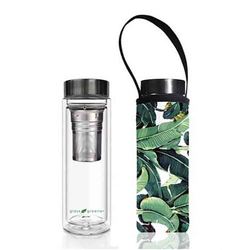 BBBYO Glass is Greener Thermal Tea Flask + Cover Banana Leaf (500ml)