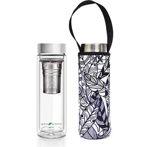 BBBYO Glass is Greener Thermal Tea Flask + Cover Feather (500ml)