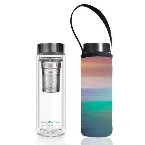 BBBYO Glass is Greener Thermal Tea Flask + Cover Peace (500ml)