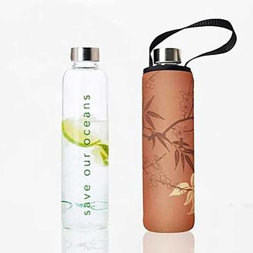 BBBYO Glass is Greener 750ml Bottle + Carry Cover - Bamboo