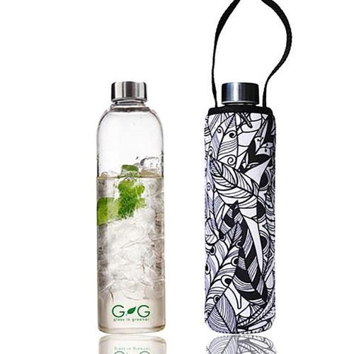BBBYO Glass is Greener 750ml Bottle + Carry Cover - Feather