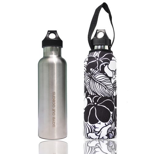 BBBYO Traveller Stainless Steel 750ml Bottle + Carry Cover - Tropic