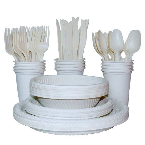 EcoSouLife Cornstarch Disposable Dining Set - 140 Pieces