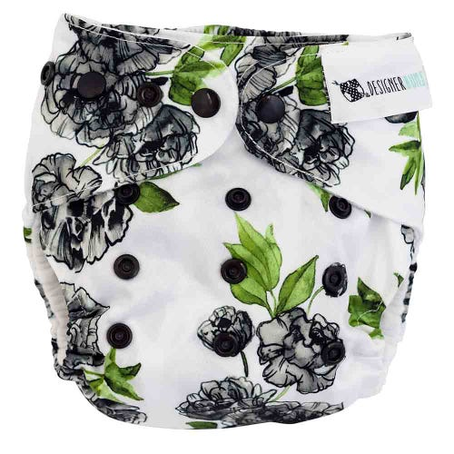 Designer Bums Reusable Nappy - Black Peony
