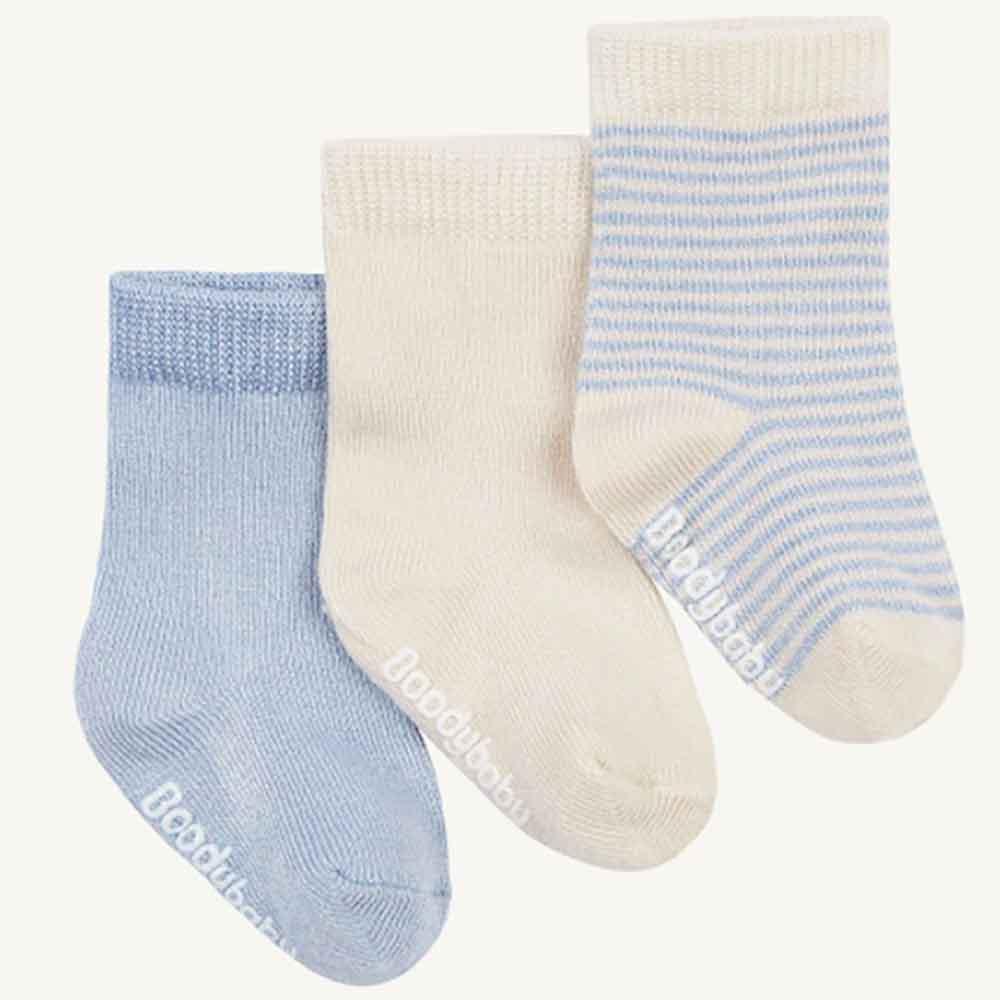 Boody Baby Socks - Chalk/Sky Stripe (3 Pack)