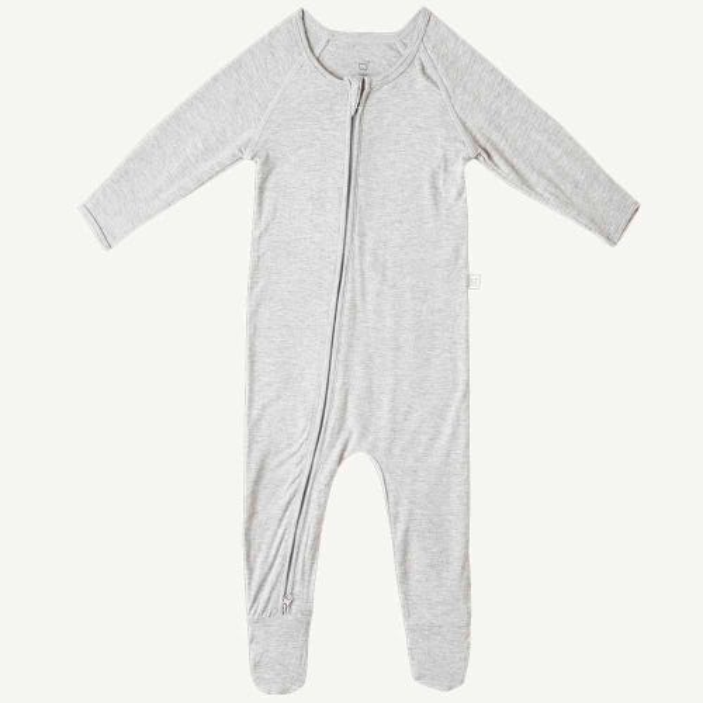 Boody Baby Long Sleeve Onesie - Light Grey Marl