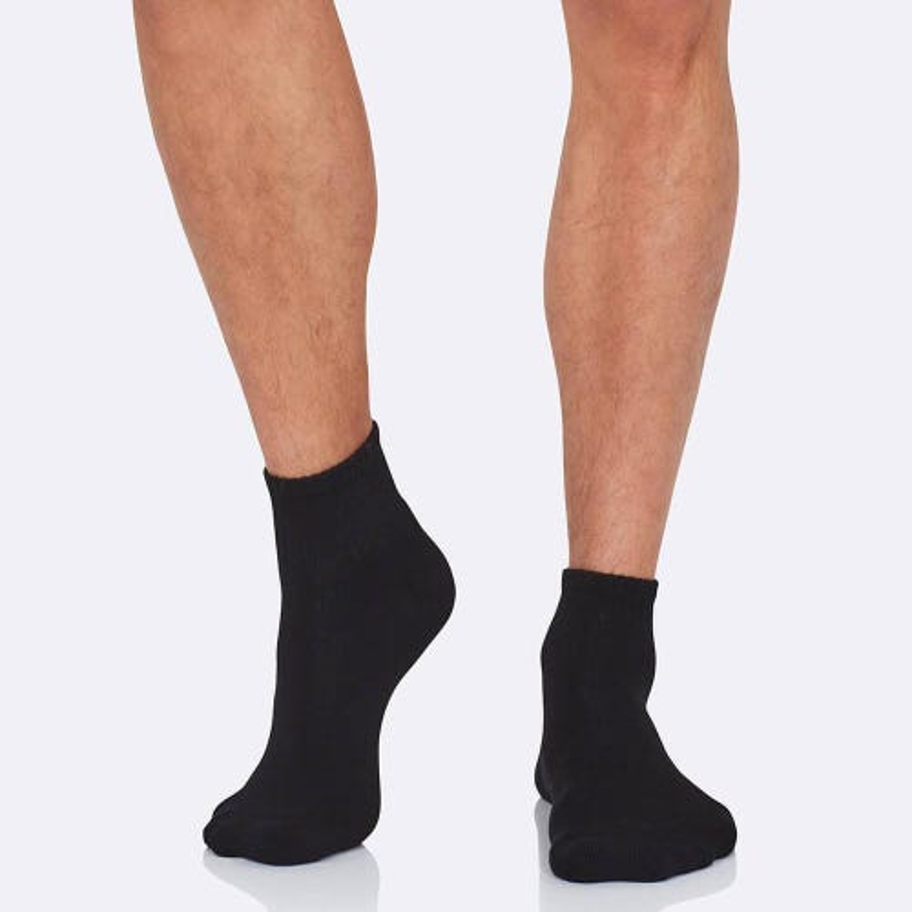 Boody Men's Quarter Crew Sports Socks - Black